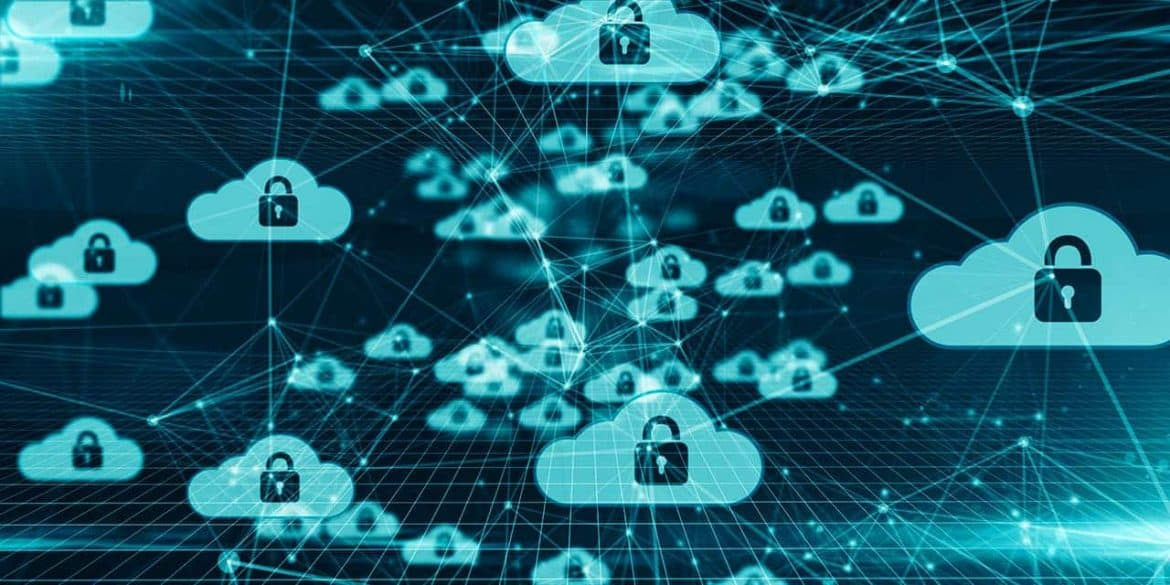 Image of networked clouds with padlocks