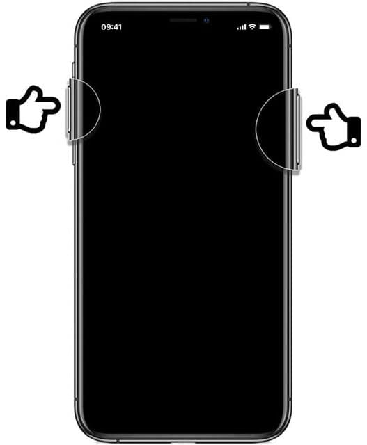 Pressing top volume button and button on right side